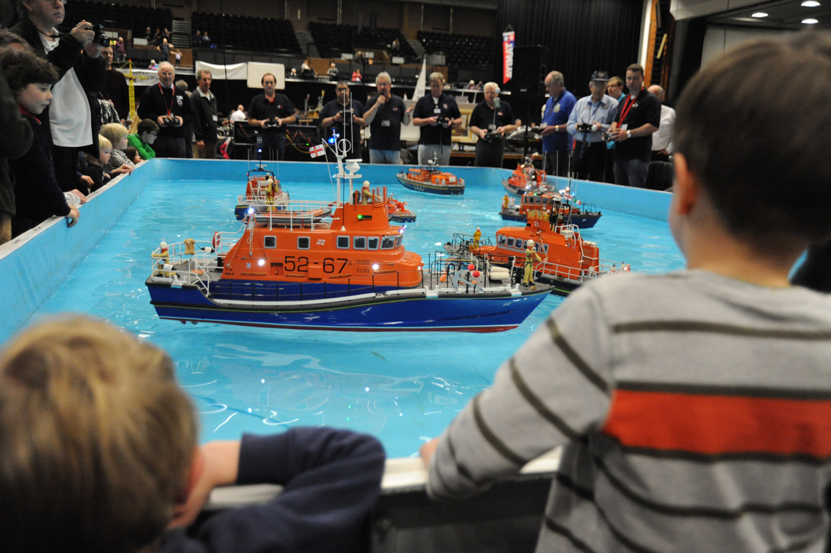 Lifeboats performing a model rescue